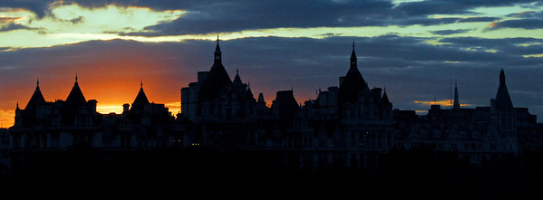 Silhouette of London Skyline at sunset along River Thames 2 -  London, England   (Letterbox or Banner)