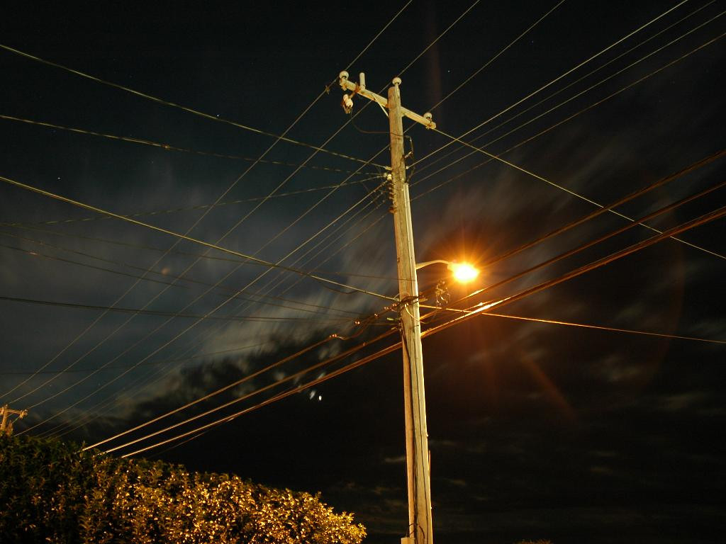 Hazy phone pole