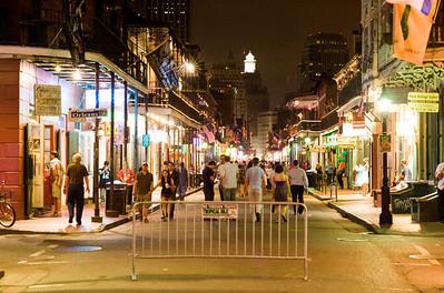 Bourbon Street at midnight.