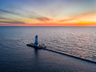 Sunset at Ludington Light Aerial