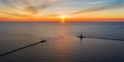 Aerial Sunset in Ludington