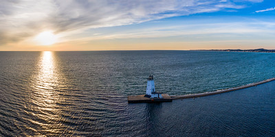 Ludington Lighthouse Aerial Sunset Panorama
