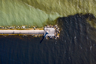 Breakwall from Above in Ludington