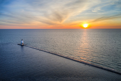 Ludington Sunset Sky Aerial