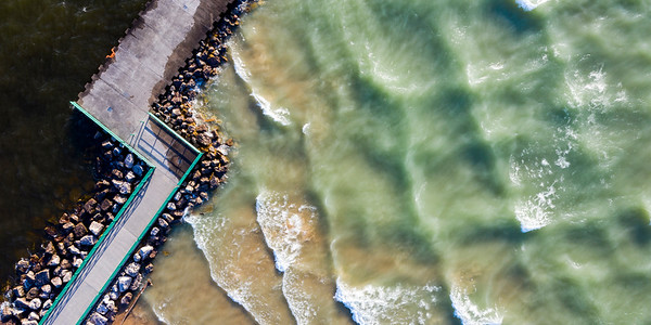 Pentwater Pier and Shore Aerial