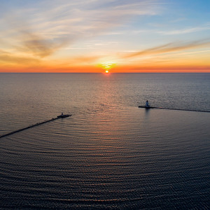 Ludington Shoreline Sunset Aerial