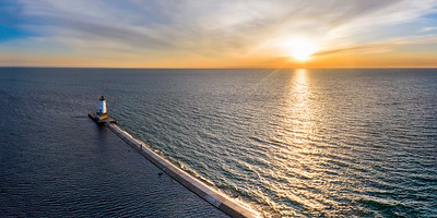 Sunset and Pier from the Sky