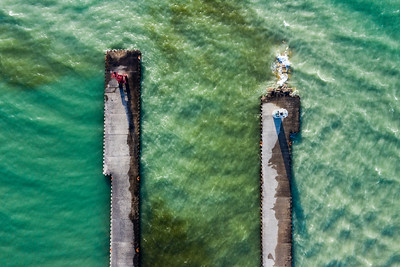 Pentwater Twin Piers Aerial
