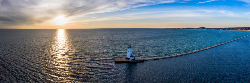 Ludington Lighthouse and Pier Evening Aerial