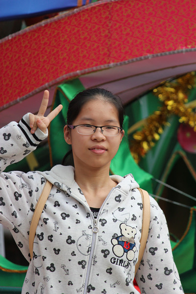 Chinese Teenager Posing, Senado Square, Macau