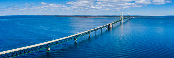 Panorama of Mackinac Bridge from The Sky