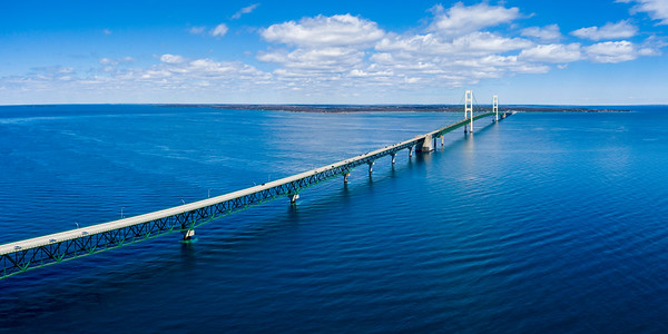 Mackinac Bridge Aerial 2x1 Panorama