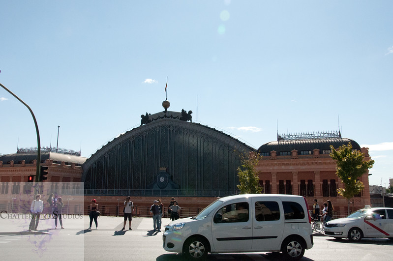 Outside the Madrid Train Station, Madrid, Spain.
