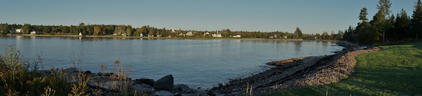 Pano view of Prospect Harbor.  This is the view from the end of the dirt road from the cottage.