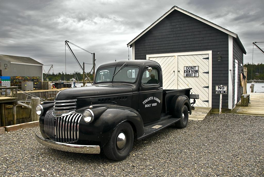 Truck at Tenants Harbor Boat Yard.