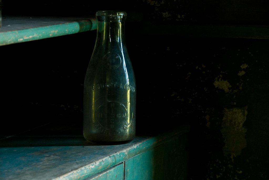 Interior picture of a bottle taken at the Olson House in Cushing, Maine.