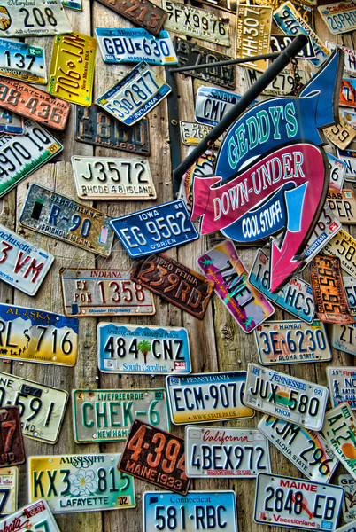Geddy's wall of license plates, in Bar Harbor, Maine - home of the famous Geddy Bear.