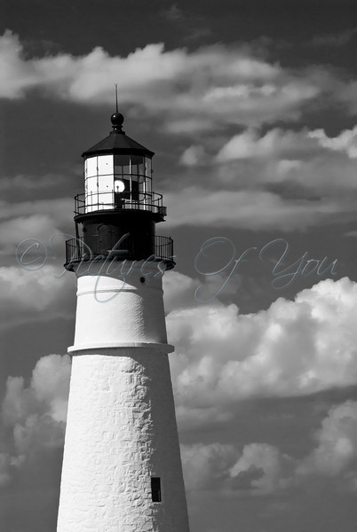 Close up image of the Portland Head Light, in Cape Elizabeth, Maine.  Adjacent to Fort Williams Park,