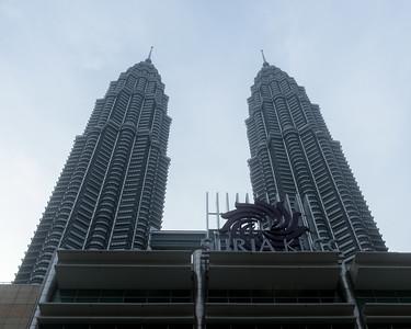 Petronas Towers at sunset.