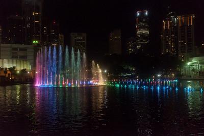 Fountains at night at KLCC.