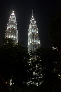 Petronas Towers at night.