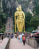 Murugan statue and the 272 step stairway leading into the Batu caves, a Hindu Shrine.  This statue is 140 ft high and is the tallest statue of Murugan (a Hindu deity) in the world.