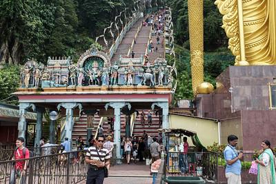 Stairway up to the Batu Caves Hindu shrine.