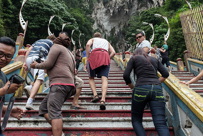 Halfway up the stairway to the Batu Caves.