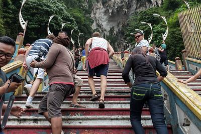 Halfway up the stairway to the Batu Caves.