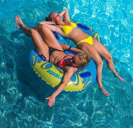 Girls in aqua park