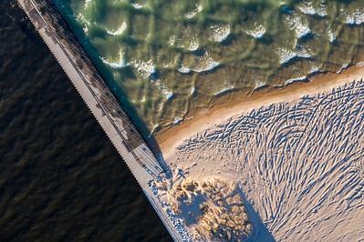 Pier and Waves in Manistee Aerial