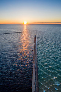 Manistee Lighthouse and Sunset Aerial