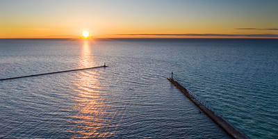 Manistee Piers from the Sky