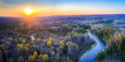 Manistee River Sunset Aerial