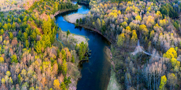 Springtime on The Manistee River Aerial