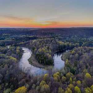Manistee River Sunset Aerial Square