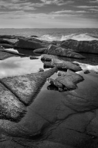 3 December 2011. Halibut Point State Park. Rocky seashore and Atlantic Ocean. Photo taken with Nikon D90 and Nikkor 24-70 mm with yellow/orange (040M) filter and circular polarizer. Processed with Photomatix Pro 4.1, Nik Silver Efex Pro 2, and Adobe Photoshop CS5.