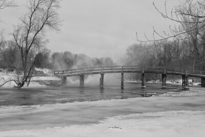 20130217. Snow blowing over Concord River at North Bridge in Minute Man NHP