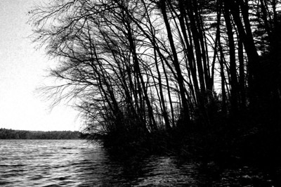 20120318.  Forest silhouette on Whitehall Reservoir, Hopkinton MA.