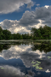 20120623. Calm before the storm on Whitehall Reservoir, Hopkinton MA.  Taken with Nikon D90 and 16-mm fisheye Nikkor lens.