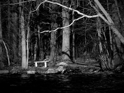 20120318.  Pi bench at shore of Whitehall Reservoir, Hopkinton MA.