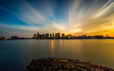*Flowing Sky Reflecting Sun*  Another shot from East Boston the other night. I found this spot while doing research before I came to Boston. The water was really low, so we decided to hop the fence and walk out on this rocky pier thing. This is a long exposure with my LEE Big Stopper.   Canon 5D MK III Canon 17-40mm f/4 L ISO 50 f/22 200 Seconds - http://smu.gs/Rha3gr  #photospot  (GPS: 42.369468,-71.044561)