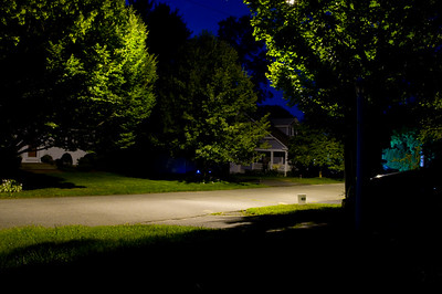 Night shot from my front porch. I played with a few develop settings in lightroom and this is the one I liked best. I white balanced on the road and cranked the saturation.