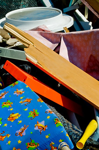 Some very colorful junk in the bulk trash dumpster