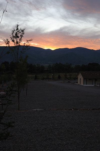 Sunrise and Sweetwater Mountains from Meadow Cliff RV Park.