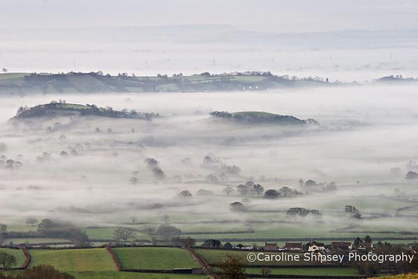 Misty Morning from Deer Leap Mendip Landscape