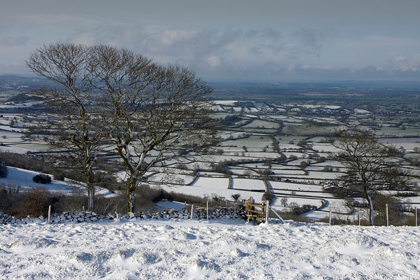 Snow on the Mendips towards the Somerset Levels