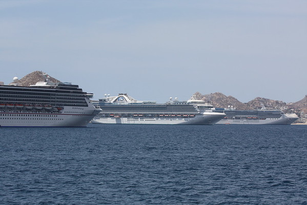 April 11, 2016: Cabo San Lucas...ships lined up in port. The Ruby Princess is in the middle.