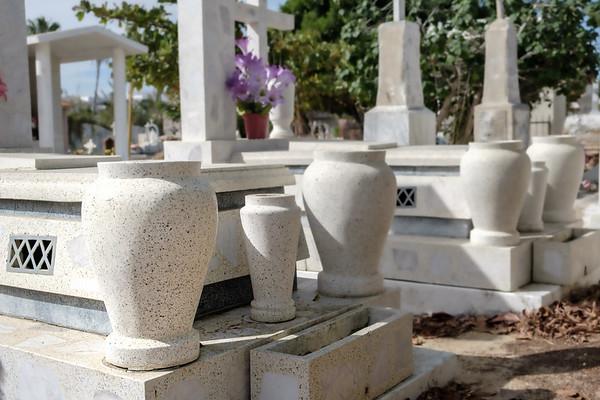 Pristine marble memorials.