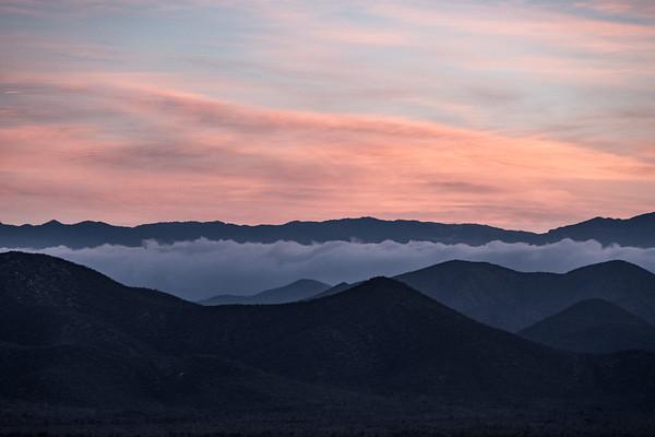 Dawn breaking over the Sierra de la Laguna mountains.